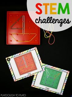 Geoboard STEM Challenges! What a fun STEM center for kids.