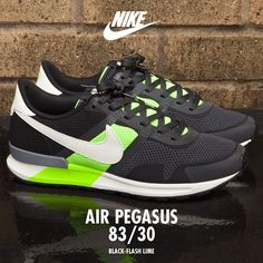 Nike Air Pegasus: 83/30 - This 30 year anniversary sneaker looks sharp in this Anth/Sail/Lime/Black colour-way. Available online now for £66.99. #footasylum #showusyoursneaks #nike #pegasus #83 #30