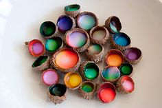 """These delightful acorn glue cups are fun to make, and when finished are great pretent """"treasure"""" or fairy bowls."""