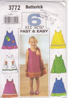 Butterick Sewing Pattern Very Easy Girls' Dress Sizes 1 & 6 Years & Garden Toddler Sewing Patterns, Butterick Sewing Patterns, Simplicity Sewing Patterns, Vintage Sewing Patterns, Sewing Ideas, Pattern Sewing, Sewing Projects, Easy Girls Dress, Toddler Girl Dresses