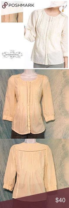 """Anthropologie Meadow Rue Roselle. 4 Meadow Rue Roselle button up blouse by Anthropologie. Ribbon/crochet detailing, 3/4 sleeve. Size 4. Bust 17"""", waist 16"""", length 23"""". Anthropologie Tops"""