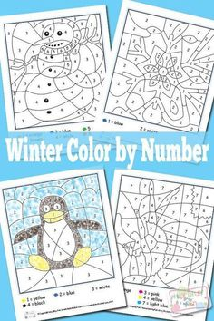 Festive Winter Color by Numbers Worksheets While it may be freezing outside your kids can enjoy these Winter color by numbers indoors, you know where it's super warm! I love winter… Well I love… Winter Kids, Winter Art, Winter Colors, Winter Theme, Thema Winter Im Kindergarten, Kindergarten Math, Winter Activities For Kids, Preschool Activities, Thanksgiving Activities