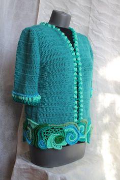 2c21e5a79199 Vrije vorm haak Turquoise Cardigan met Boho gehaakte trui, Wearable Art,  Fairy Hippie, Gypsy, Festival trui, vest