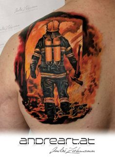 Amazing color scheme and fantastic intensity in this fire fighter motif by André Zechmann! This is truly a work of art! Ems Tattoos, Hand Tattoos, Tattoos For Guys, Cool Tattoos, Tatoos, Fireman Tattoo, Firefighter Tattoos, Arm Tattoo, Samoan Tattoo