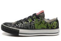 Hulk Shoes Converse Black Green The Avengers Chucks Taylor Low Tops Sneakers