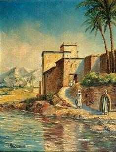 Peinture d'Algérie - Peintre Français, Louis Maisonneuve (1850–1926) , Huile sur toile, Titre : Villa animée au bord de l'oued.