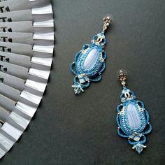Macrame earrings, blue agate, wedding jewelry, tribal hippie micro macrame, boho style, blue, white, bohemian, bohochic, for bride, wedding
