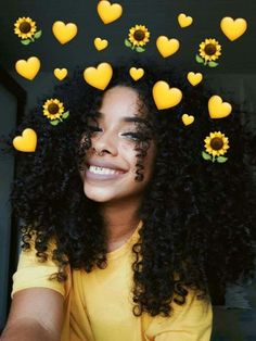 Yellow in heart💛🌻 Curly Hair Styles, Natural Hair Styles, Black Girls Hairstyles, Cute Hairstyles, Braided Hairstyles, Hair Inspo, Hair Inspiration, Curly Girl, Thick Curly Hair