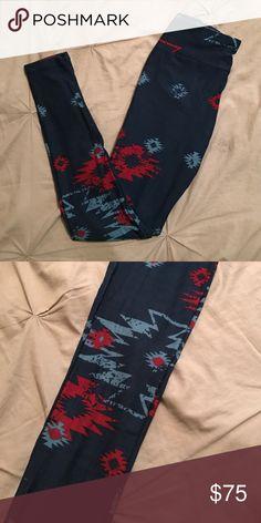 UNICORN Lularoe Leggings OS Aztec UNICORN Aztec leggings.  One size. Navy burgundy and light blue LuLaRoe Pants Leggings