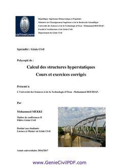 Calcul des structures hyperstatiques Cours et exercices corrigés Genie, Research, Higher Education, Calculus, Exercises