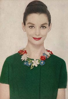 Harper's Bazaar, February 1958 photo by Richard Avedon Actress Susan Strasberg wears a circlet of enameled field flowers by Sandor Goldberger.