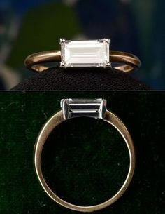 An unusual vintage emerald cut diamond with very small corners, giving it the appearance of a perfect rectangle. We set it in platinum and 18K yellow gold.EB 0.93 Emerald Cut Diamond (G/VS1) Ring