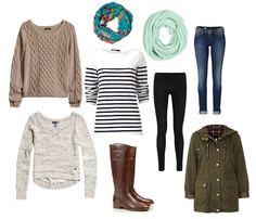 Lauren Elizabeth: fall wardrobe essentials. Love everything except for the Darker brown sweater in the tope corner