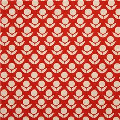 red beige Canvas flower fabric by Kokka - Flower Fabric - Fabric ...