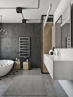 Exposed cement wall for the modern bathroom in neutral hues #ModernDesignBathrooms Loft Interior Design, Loft Design, Design Hotel, Villa Design, Design Design, Regal Design, Loft Interiors, Industrial Interiors, Industrial Bathroom