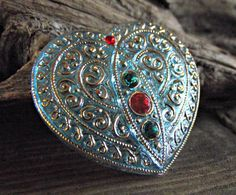 Czech Glass Heart Button 32x35mm Vitrail Aqua with by VodaBeads