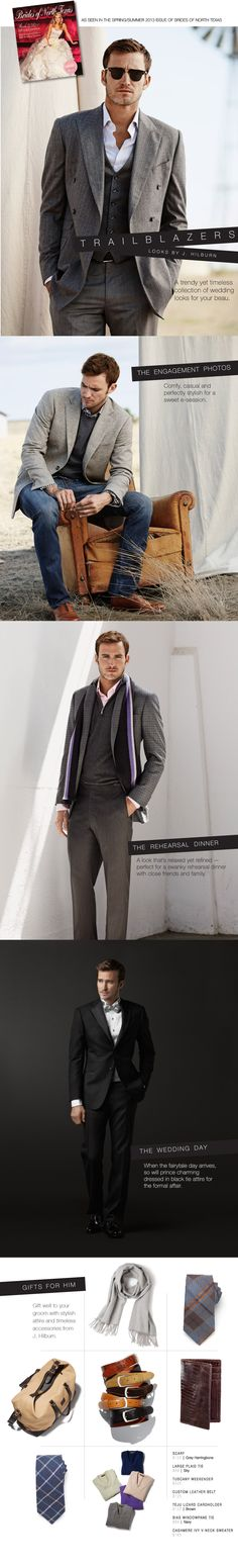 Stylish men in the Trailblazers editorial in the Spring/Summer 2013 issue of Brides of North Texas featuring products by J. Hilburn!
