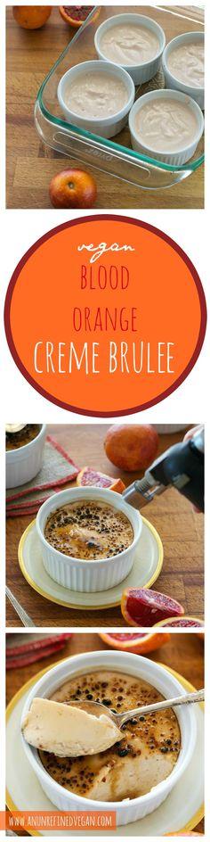 Dairy-free, gluten-free, sugar-free Blood Orange Creme Brûlée from An Unrefined Vegan.