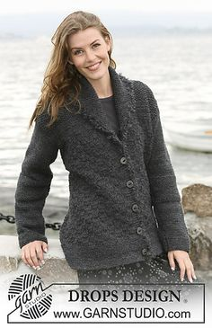 """104-39 Textured jacket in """"Alaska"""" with crochet edge in """"Puddel"""" by DROPS design"""
