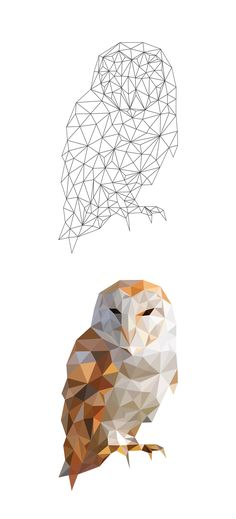 Chouette Hibou (Low poly Art polygonal)