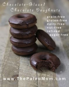 Chocolate-Glazed Chocolate Doughnuts (nut-free!) - The Paleo Mom