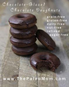 Chocolate-Glazed Chocolate Donuts | The Paleo Mom #food #paleo #glutenfree #chocolate #plantains