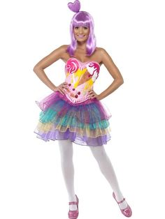 Ladies Candy Queen Costume Katy Perry Pop Star Music Icon Fancy Dress Outfit
