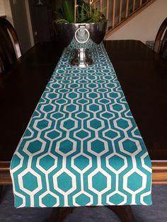 Geometric table runner, Turquoise Table Runner, Blue Table Runner, House Warming Gift, Wedding Gift,