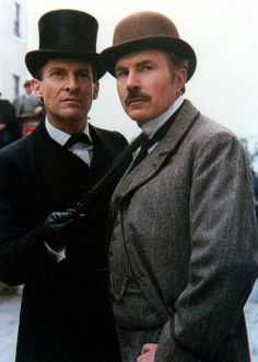 Brett and Burke --another great posed stock photo - Jeremy Brett was the best Sherlock EVER. Both Brett and Burke are playing amazingly. I love the whole series.