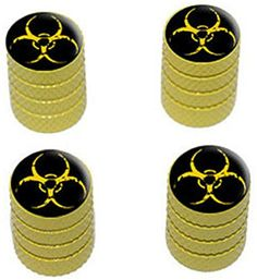 "(4 Count) Cool and Custom ""Diamond Etching Biohazard Symbol Top with Easy Grip Texture"" Tire Wheel Rim Air Valve Stem Dust Cap Seal Made of Genuine Anodized Aluminum Metal {Safety Toyota Yellow and Black Colors - Hard Metal Internal Threads for Easy Application - Rust Proof - Fits For Most Cars, Trucks, SUV, RV, ATV, UTV, Motorcycle, Bicycles} mySimple Products http://www.amazon.com/dp/B00ZBC2172/ref=cm_sw_r_pi_dp_4qDEwb0SJZ4SX"