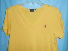 RALPH LAUREN SPORT V-Neck T-Shirt-Women Sz XL-Short Sleeve-Yellow w/Purple Logo