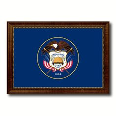 Utah State Flag Canvas Print with Custom Brown Picture Frame Home Decor Wall Art Decoration Gifts