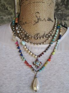 Colorful crochet wrap necklace Bohemian Voyager by slashKnots
