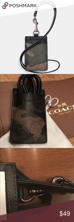 """Coach signature camouflage lanyard ID holder Coach signature coated canvas camouflage lanyard with leather trim, two credit card slots, ID window, 2 3/4"""" x 4"""", 100% authentic, style F11984, MSRP $95. First photo is a stock photo. Coach Accessories Key & Card Holders"""
