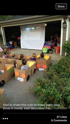 Drive-in movie kid party