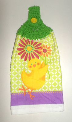 Hanging Spring Towel  Easter Chick Towel  by CarriesCraftStore
