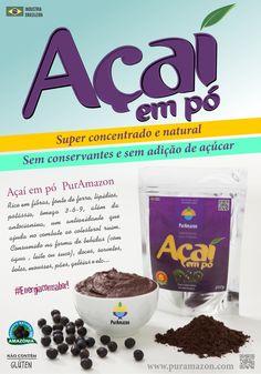 O Açaí é um fruto extraído do açaízeiro, planta nativa da Floresta Amazônica. É considerado um dos alimentos mais rico em ferro, com alto teor de fibras, vitaminas e lipídios.  www.puramazon.com