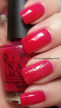 OPI Too Hot Pink To Hold 'Em with OPI I Lily Love You accent