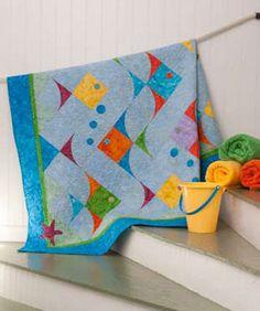 Fish Quilt on Quilt Magazine Cute Quilts, Boy Quilts, Small Quilts, Quilting Projects, Quilting Designs, Sewing Projects, Fish Quilt Pattern, Quilt Patterns, Patch Aplique
