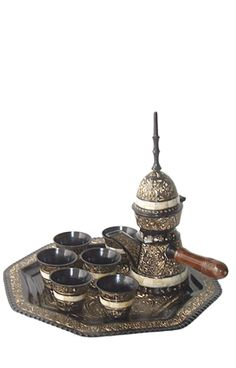 Arabic Bedouin Black Gold Br Coffee 8 Pc Set Pot Teapot With Cups