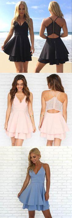 Spaghetti Straps V Neck Short Prom Dress Homecoming Dress PG174