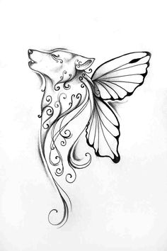 Butterfly wolf tattoo - love this! Might get this for lupus tattoo Lupus Tattoo, Atrapasueños Tattoo, Tattoo Sketch, Tattoo Wolf, Tattoo Thigh, Wrist Tattoo, Simple Wolf Tattoo, Werewolf Tattoo, Wolf And Moon Tattoo