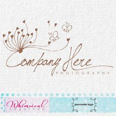 Sketchy dandelion with butterflies by WhimsicalLogoShop on Etsy, £60.00 Whimsical Logo Design by Najla Mansour RotRed