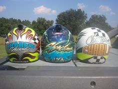 """Facebook """"Dan Frye"""" for your Hand Painting sign, lettering or artwork needs :-) Race Car Helmets"""