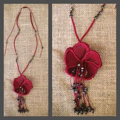Macrame necklace, flower in dark red and grey