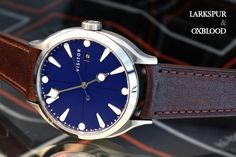 Linden | Larkspur — Visitor Watch Co. Fountain Pen Nibs, Black Dating, 316l Stainless Steel, Affordable Watches, Eu And Uk, Jewels, Omega Watch, Crystals, Blue