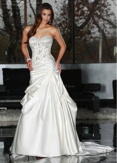 Floor Length A line Satin With Beading Sweetheart Classic Wedding Dress