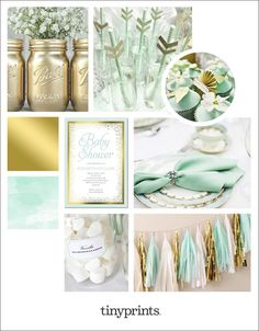 mint green and gold winter baby shower with DIY gold mason jars and pretty decorative cupcakes