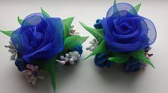 Заколки Канзаши. Синие Розы. Органза.
