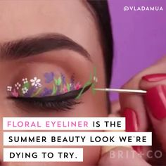 video about the summer beauty - floral eyeliner. swaps out classic winged liner for delicate floral art painted on each eyelid and is a colorful break from the classic cat eye that also doubles as the perfect festival look. Makeup Inspo, Makeup Art, Makeup Inspiration, Beauty Makeup, Cat Makeup, Beauty Trends, Beauty Hacks, Make Up Videos, Winged Liner